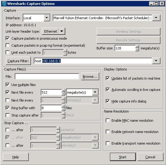wireshark single host