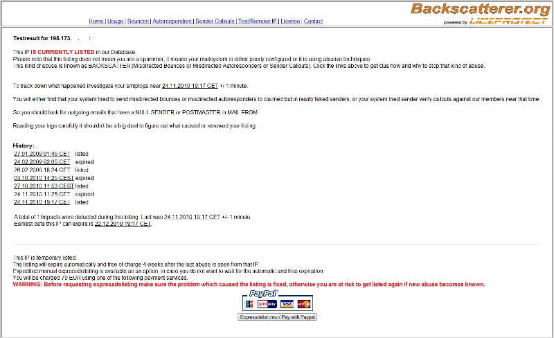 Backscatterer Listing