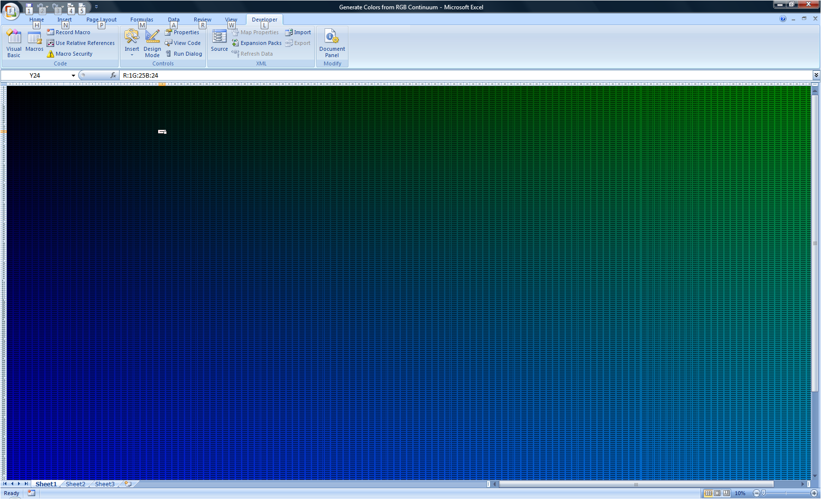 Looking for RGB values from Excel 2010 Color Palette