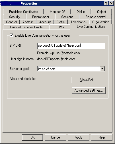Amending SIP Address in AD