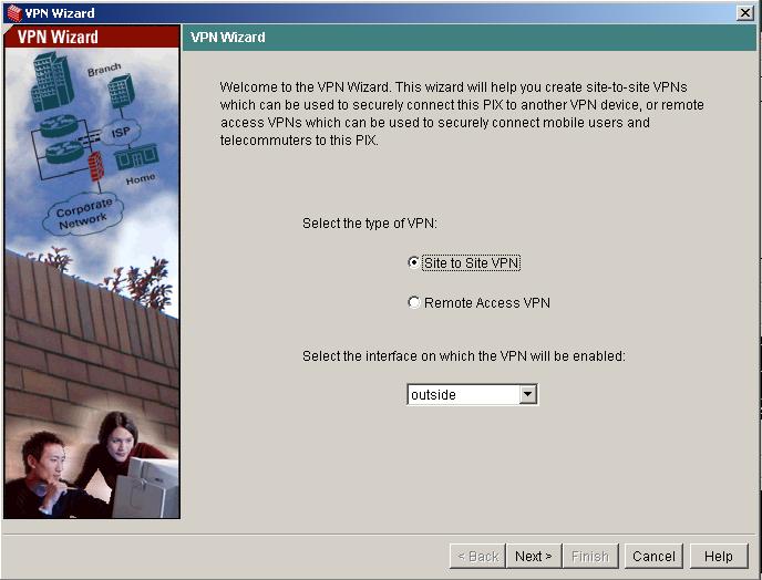 VPN wizard PIX first step - Choose VPN Type