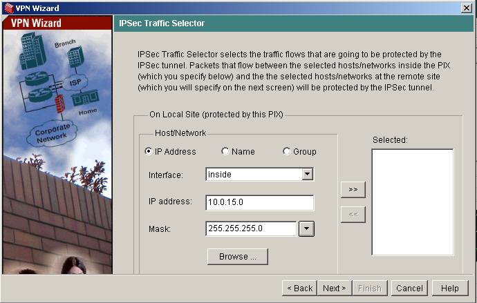 VPN wizard PIX fifth step - IPSec Traffic Selector - Local Site