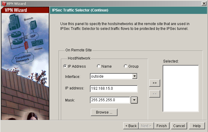 VPN wizard PIX sixth step - IPSec Traffic Selector - Remote Site