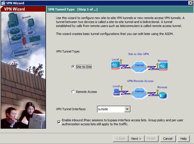 VPN wizard ASA first step - Choose VPN Type
