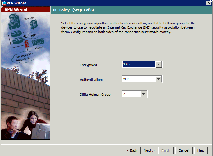 VPN wizard ASA third step - IKE Policy