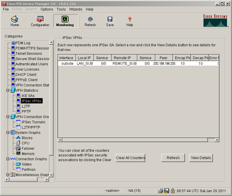 VPN wizard PIX seventh step - Tunnel Status