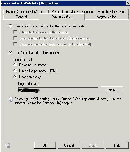 Outlook Credentials popup(Exchange 2010)