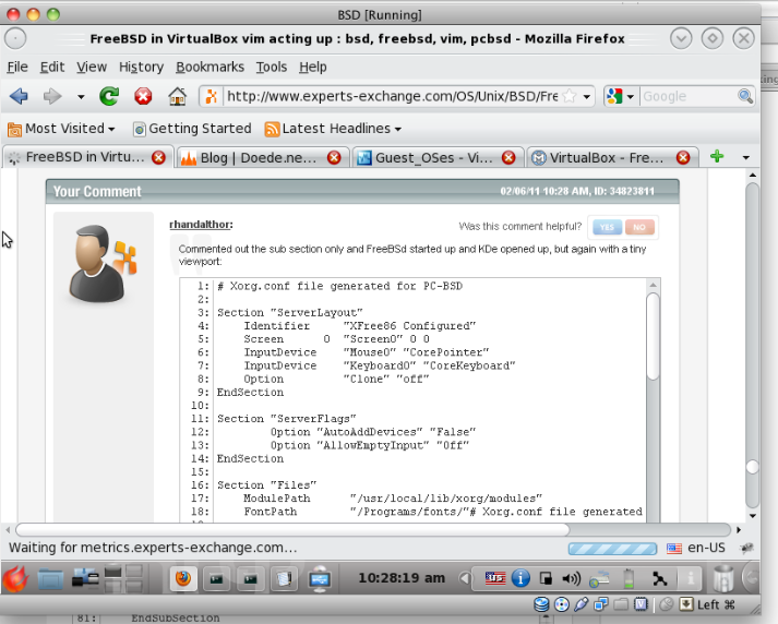 FreeBSD in VirtualBox vim acting up
