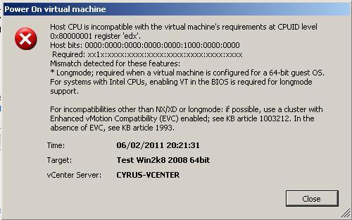 ESX host without VT!