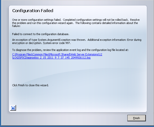 SP Install Error