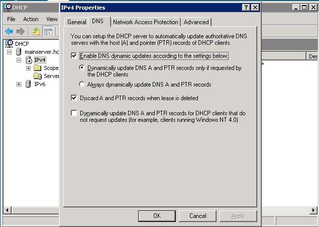 DHCPDNS settings