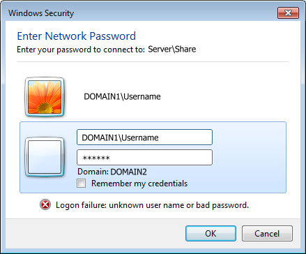 This is the logon image i get from DOMAIN2, it works if i login using username DOMAIN1\Username