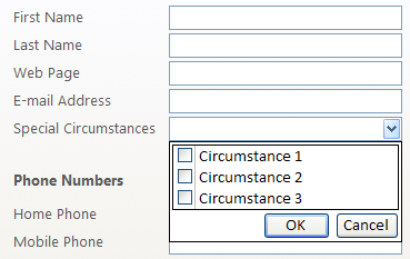 ComboBox with checkboxes for multiple selections