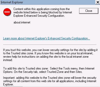 IE security error
