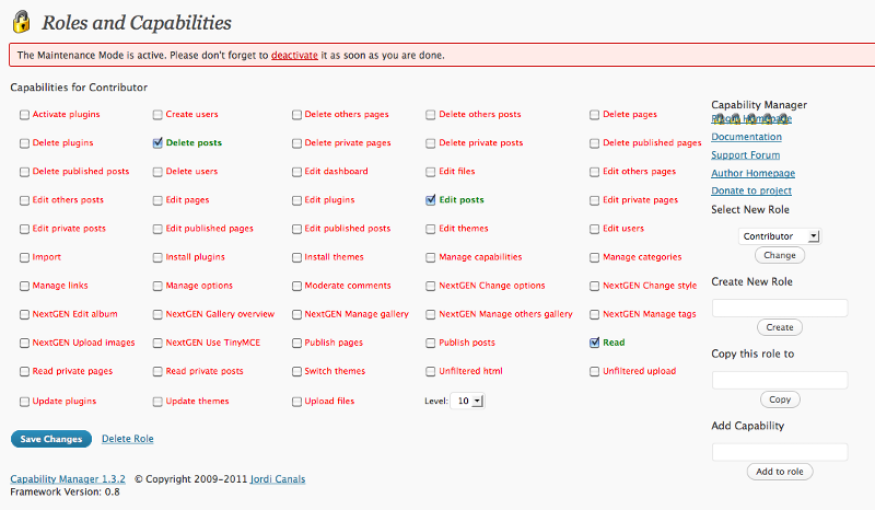 Screenshot of the list of capabilities available.
