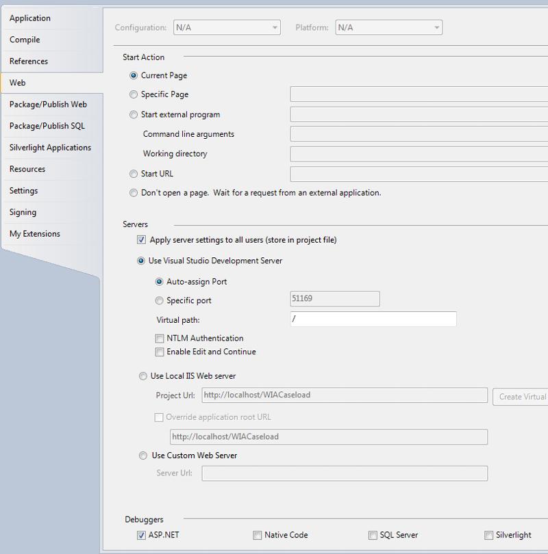 Startup Options on Web tab