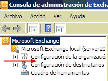 Microsoft Exchange 2010 management console (Spanish) without Server configuration node