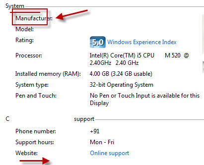 system info screenshot.