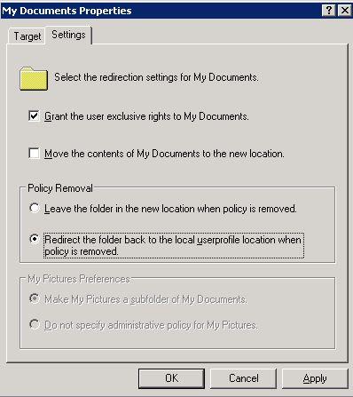 Folder Redirect Settings