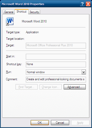 Word 2010 Shortcut Properties Screenshot