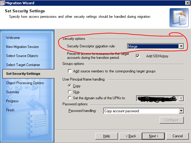 Migration Sessions Security Settings Screen