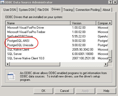 Screen shot of ODBC Driver