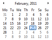 "Feb 2011 has days distributed in over 5 ""weeks"""