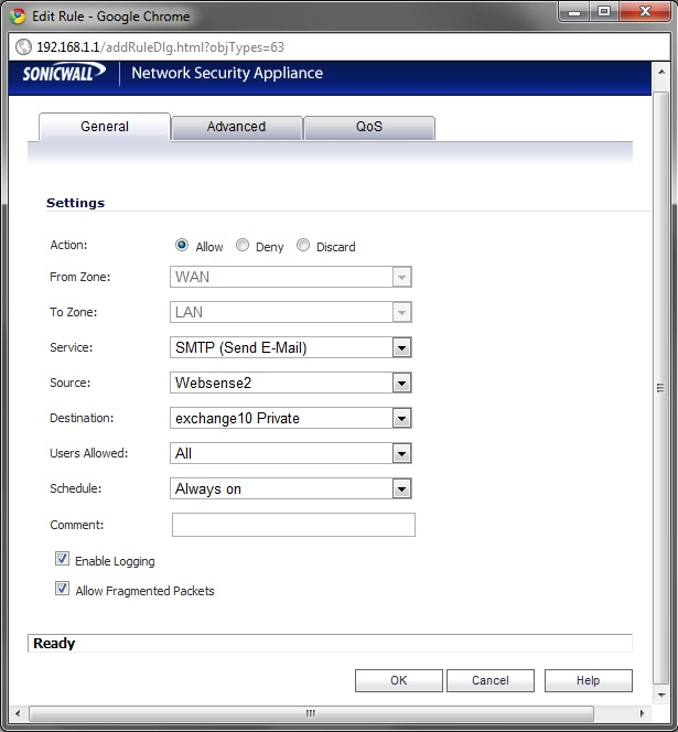 SonicWALL open Port 25 to specific external IPs only