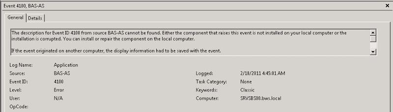 BAS-AS Error 4100