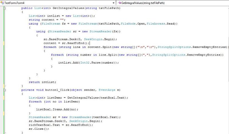 Screen shot of code used in the form