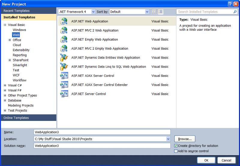 New Project Dialog -- New ASP.NET web application (.NET 4.0)