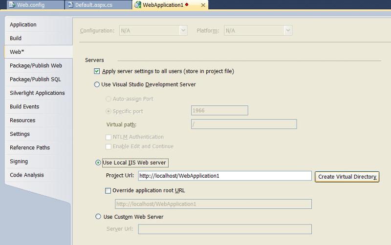 Web Application properties -- Web tab
