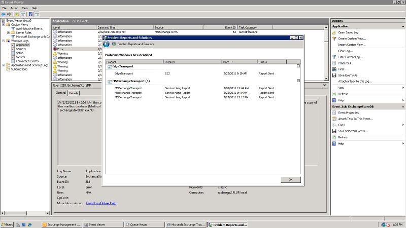 Exchnage Server 2010 Crash