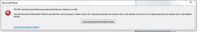 Error message given in Word 2010 when saving a new file to a SharePoint library with required columns