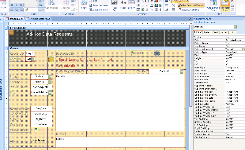 Screen shot of form in design view, with image selected