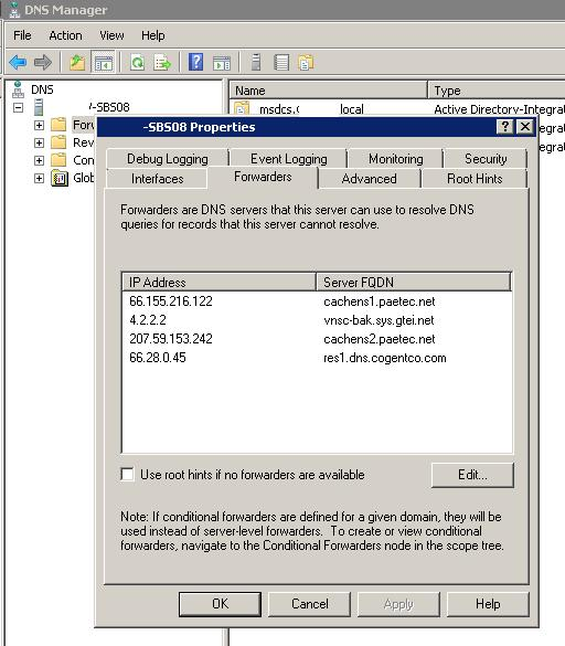 DNS-FORWARDERS-SBS2008