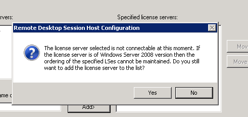 RDS License Server Error Message