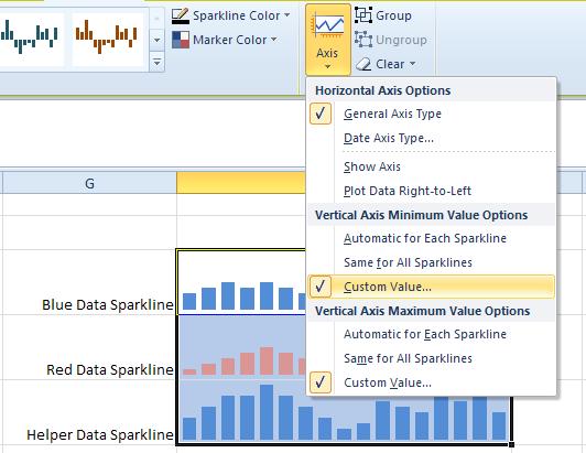 Set Sparkline Axes options