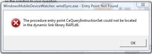 wmdSync.exe error msg on startup of Vista