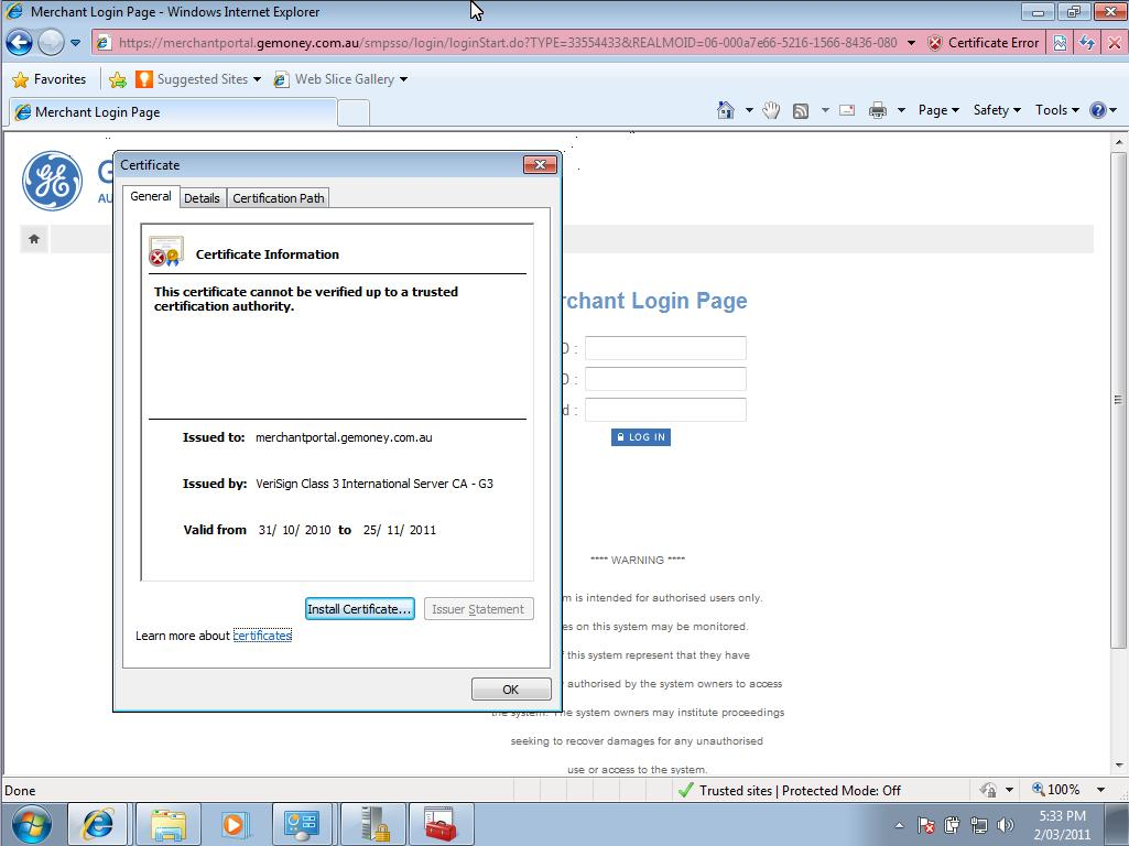 Internet Explorer 8 Certificate Error Cannot Be Verified Up To A