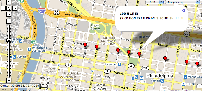 Snapshot of the parking info on google map
