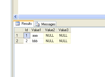 sample sql table