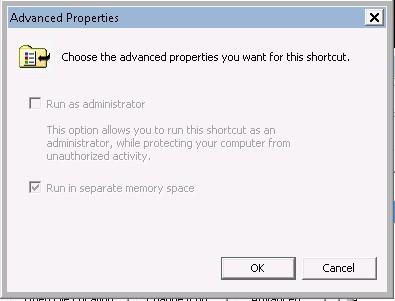 Screenshot of script shortcut -> Right click context menu -> Properties -> Advanced