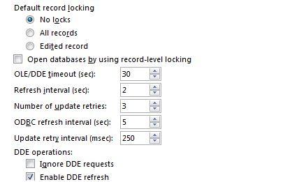 Access Options Advance refesh and locking