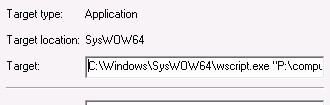 Alter the shortcut properties and add prefix C:\Windows\SysWOW64\wscript.exe and a space to the target
