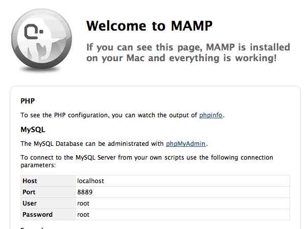 mamp screen shot