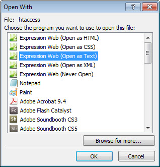 Open with Expression Web Text