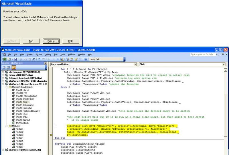 screenshots of error