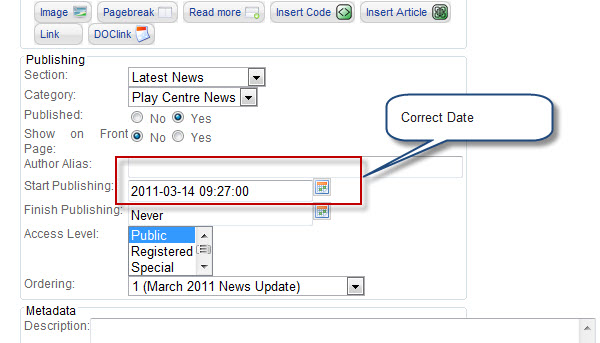 Correct date shown when creating article
