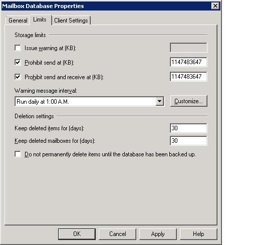 Mailbox Database Properites
